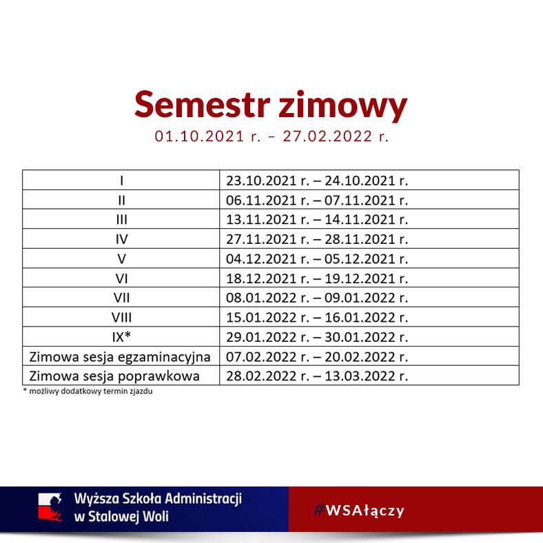 Terminarz zjazdów nasemestr zimowy!