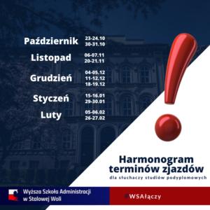 Harmonogram zjazdów nastudiach podyplomowych.